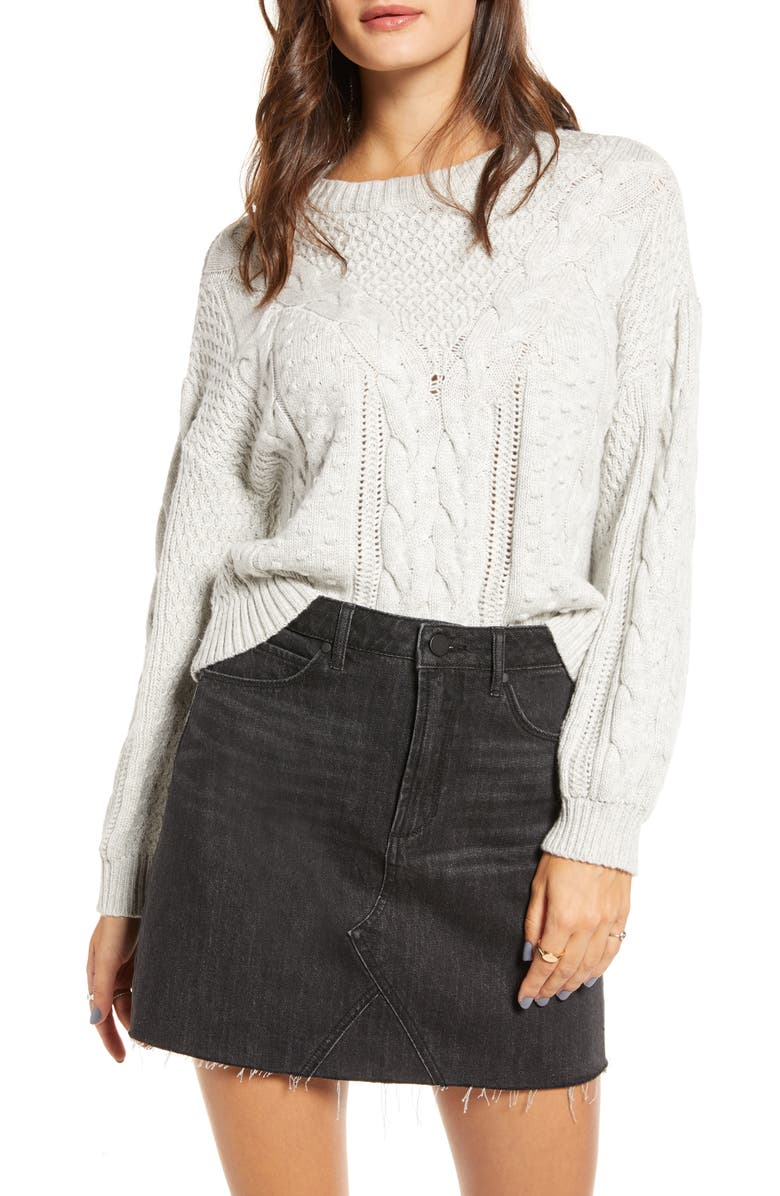 BP. x Claudia Sulewski Cable Sweater, Main, color, GREY QUIET HEATHER