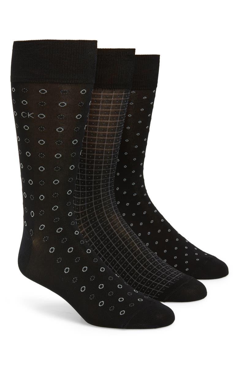 CALVIN KLEIN 3-Pack Mercerized Cotton Blend Socks, Main, color, BLACK