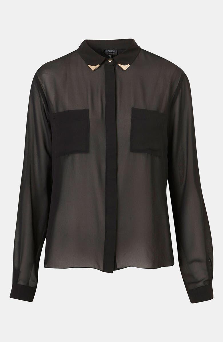 TOPSHOP Moto Tipped Collar Chiffon Shirt, Main, color, 001