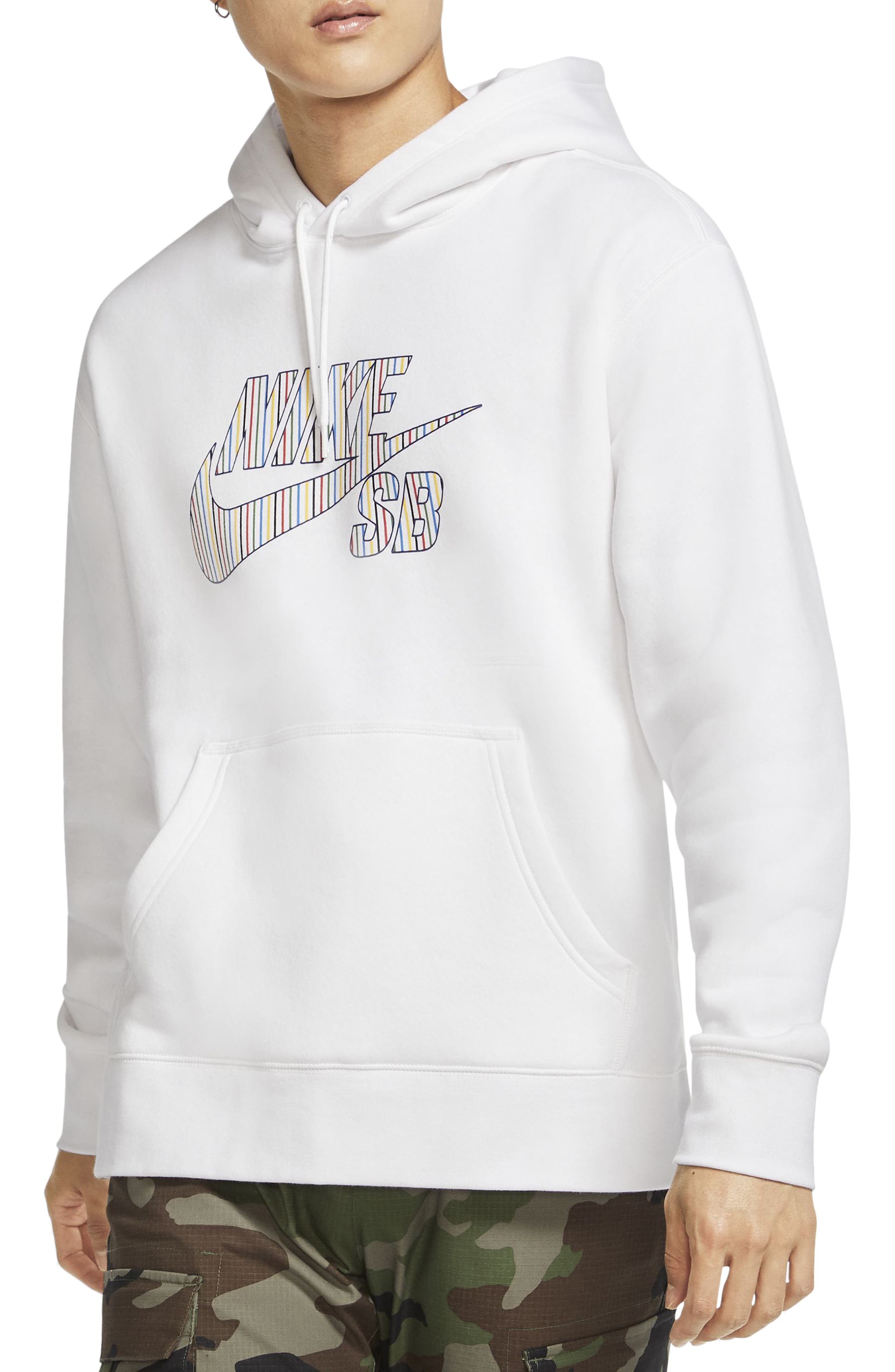Bright pinstripes skate up and down the Nike SB Swoosh logo dominating a heavyweight sweatshirt cut with plenty of room to let you move on your board and off. Style Name: Nike Sb Stripes Logo Hoodie. Style Number: 6010380. Available in stores.