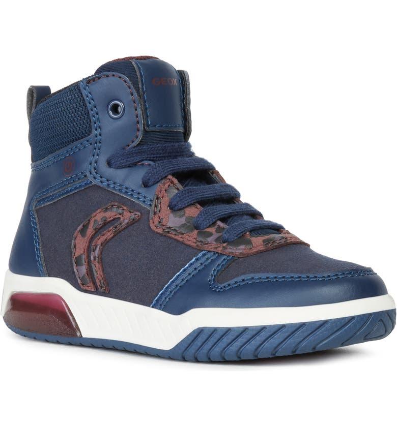 GEOX Inekgirl1 Light-Up Sneaker, Main, color, NAVY