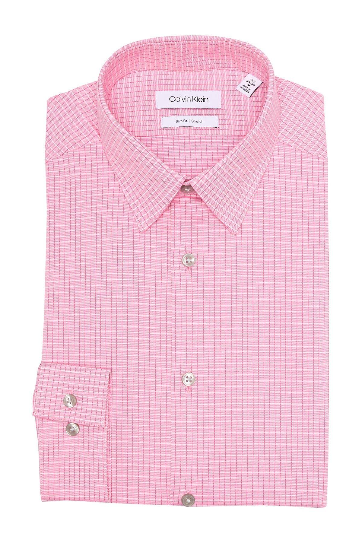 Image of Calvin Klein Windowpane Print Stretch Slim Fit Dress Shirt