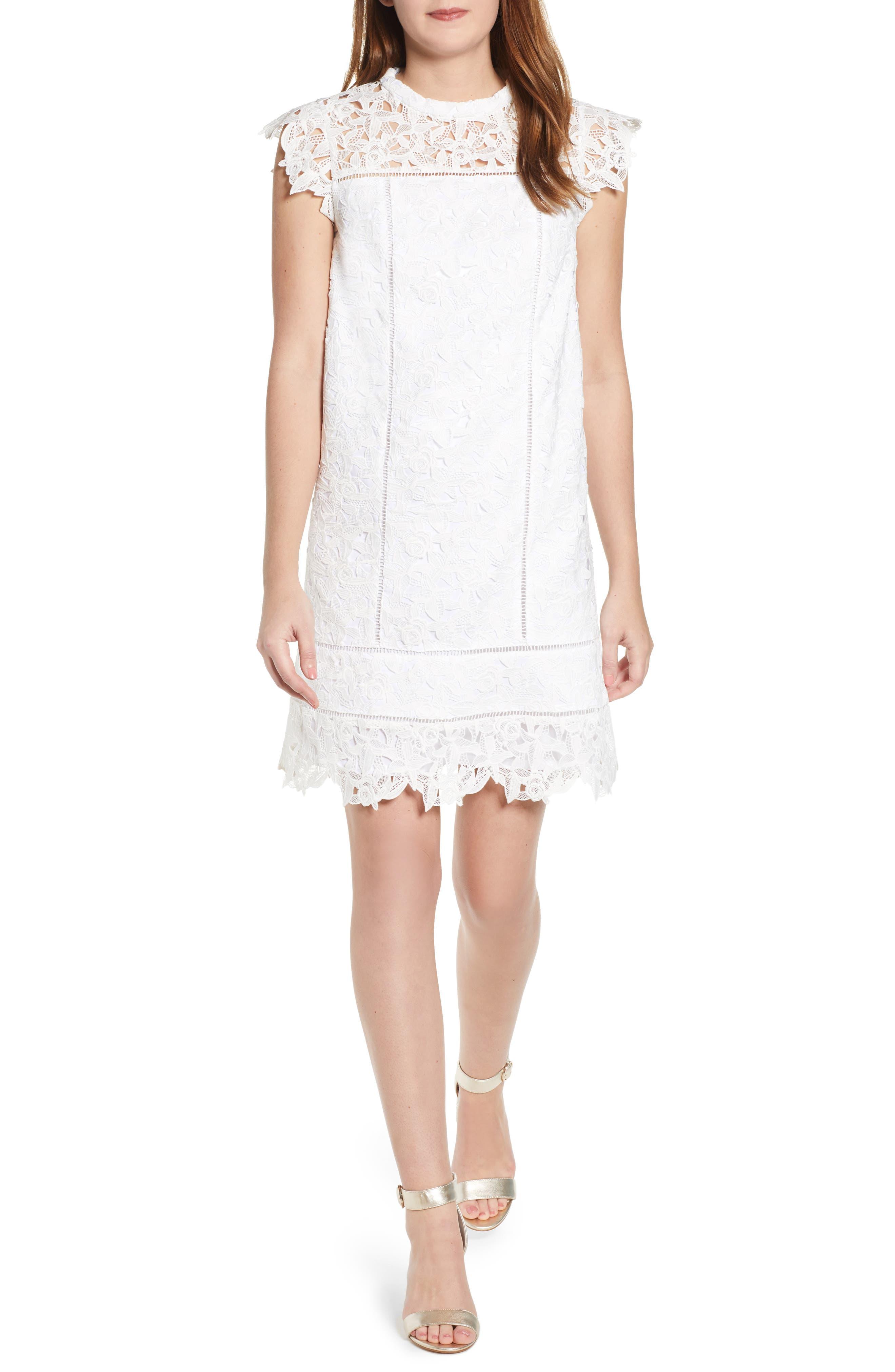 Lace Shift Dress, Main, color, WHITE CAP