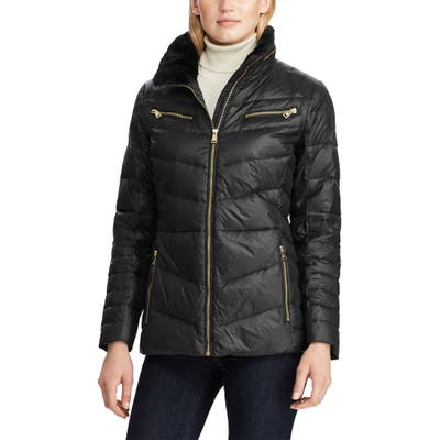 Lauren Ralph Lauren Faux Fur Trim Quilted Hooded Down & Feather Jacket, Black