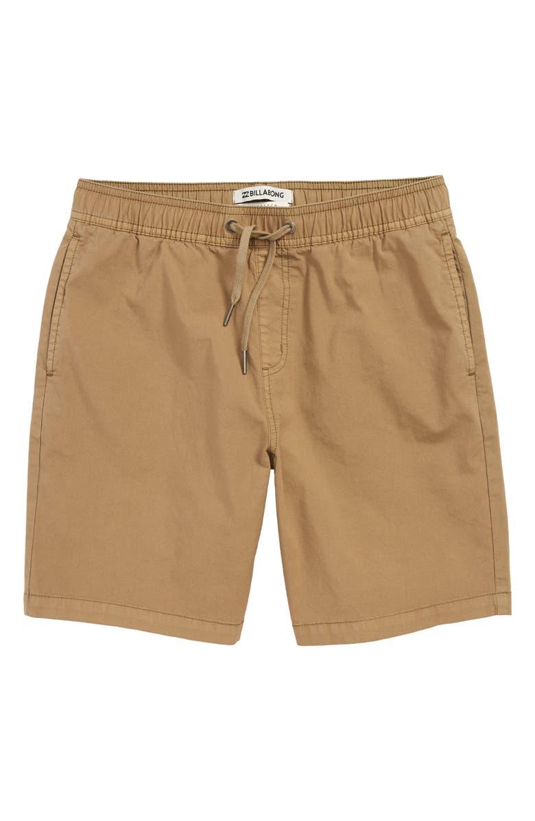 BILLABONG Larry Layback Shorts, Main, color, DARK KHAKI