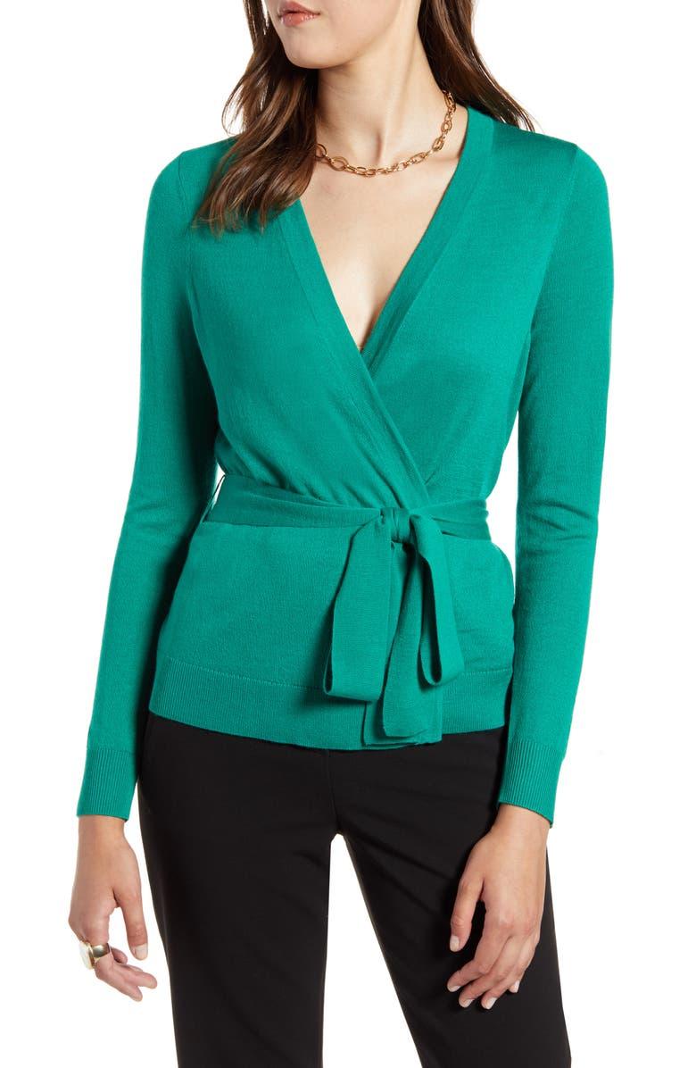 HALOGEN<SUP>®</SUP> Tie Waist Cardigan, Main, color, GREEN PARAKEET