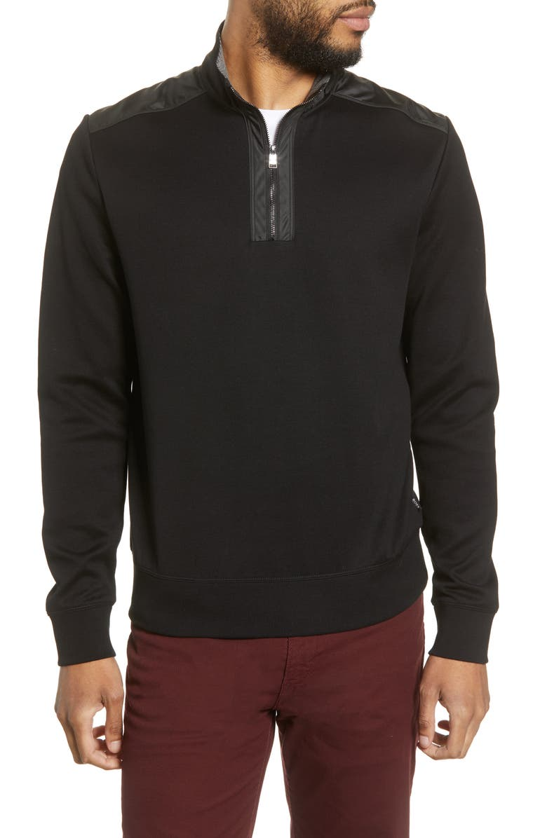 BOSS Sydney 56 Regular Fit Quarter Zip Pullover, Main, color, BLACK