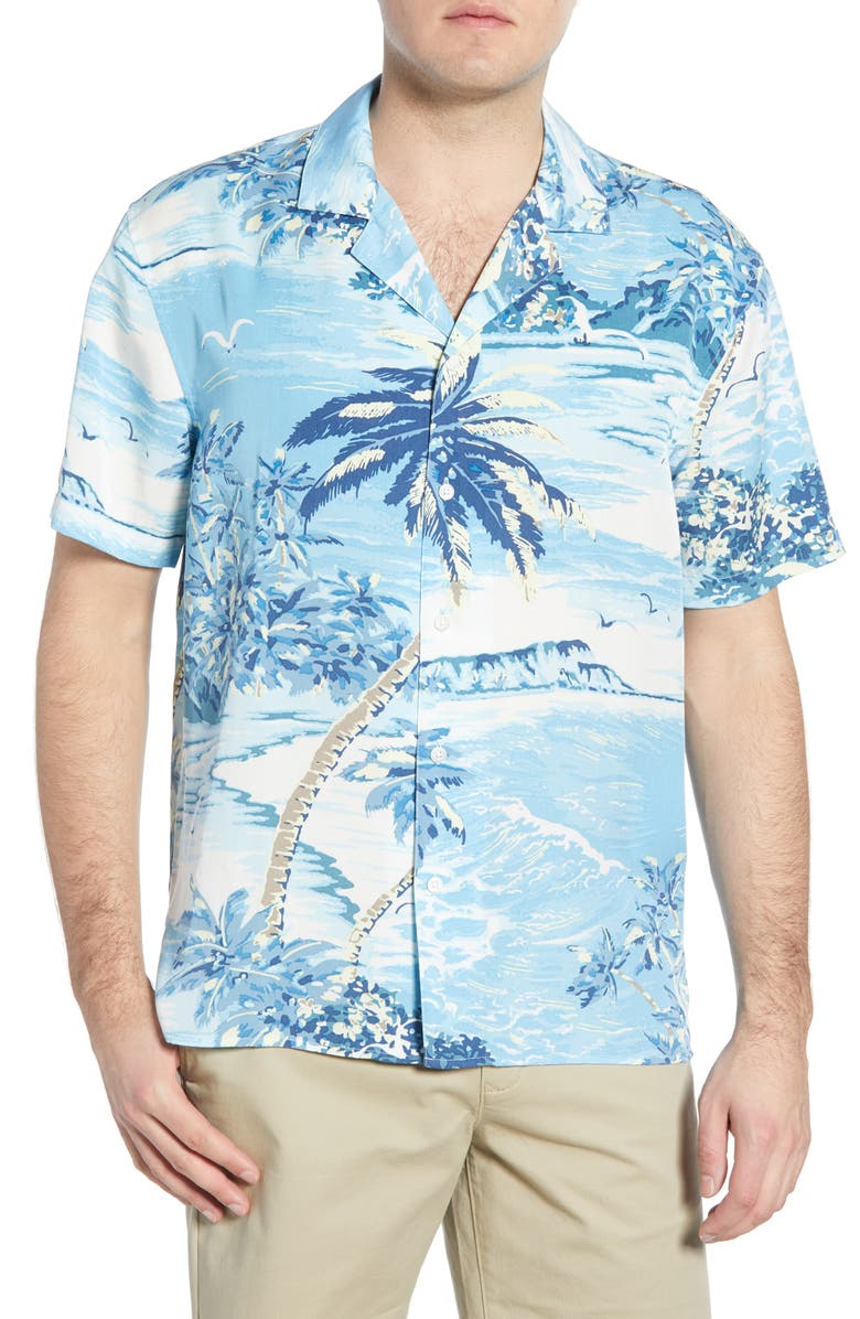 BONOBOS Cabana Slim Fit Island Print Button-Up Camp Shirt, Main, color, TROPIC SCENE
