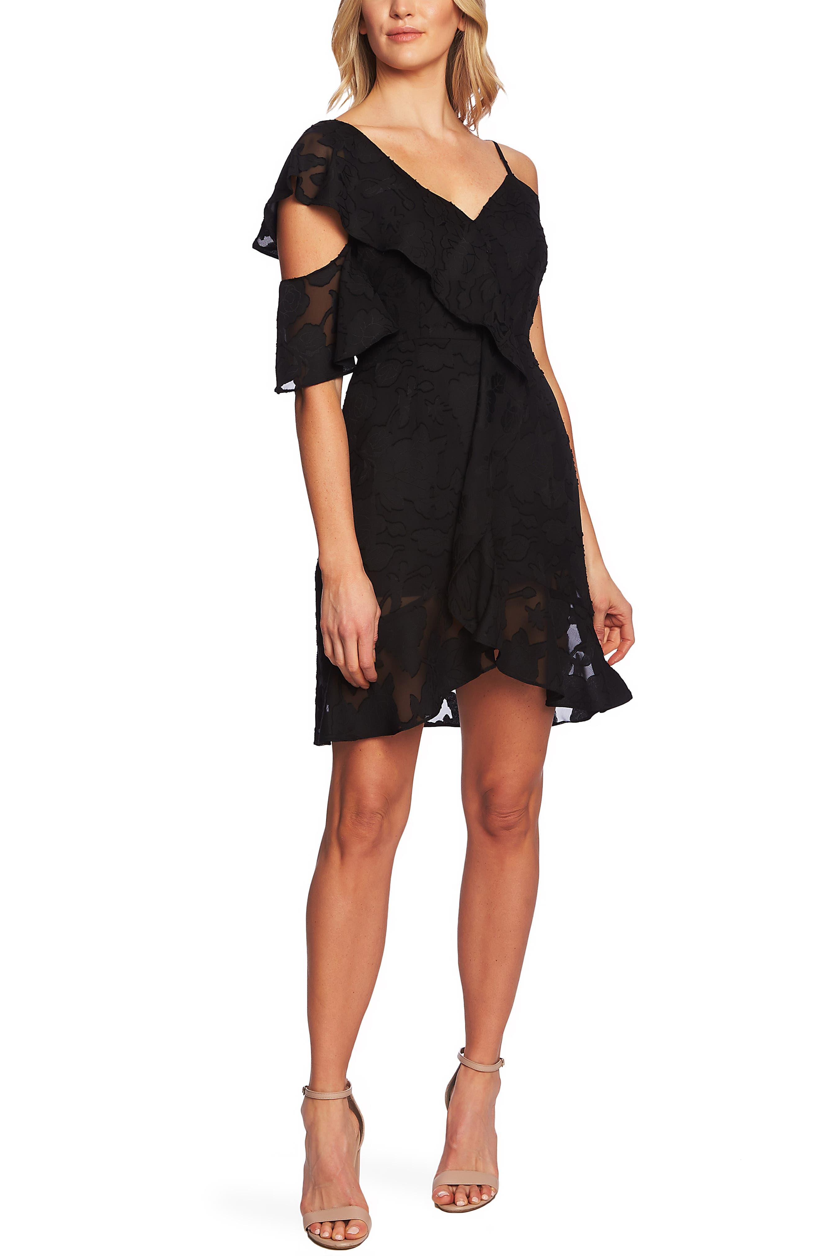 Cece Floral Burnout Asymmetrical A-Line Dress, Black