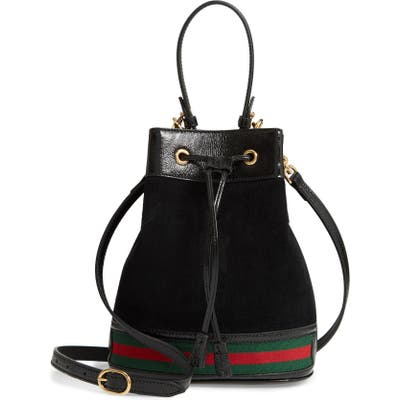 Gucci Smallsuede & Leather Bucket Bag - Black