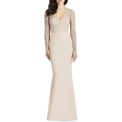 Dessy Collection Lace & Crepe Trumpet Gown, Beige