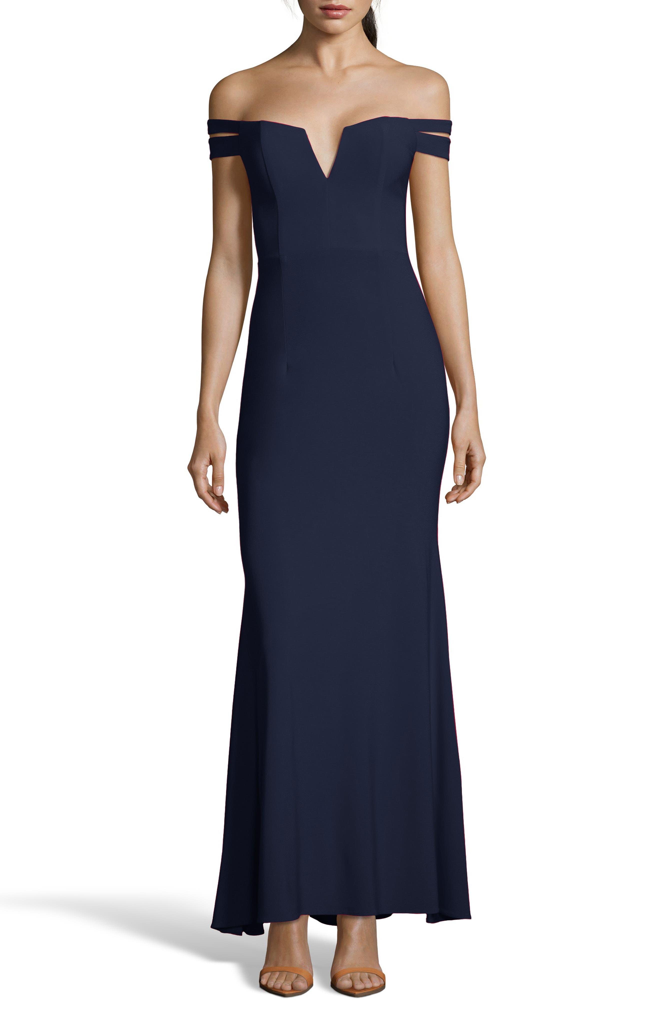 Xscape Off The Shoulder Evening Dress, Blue