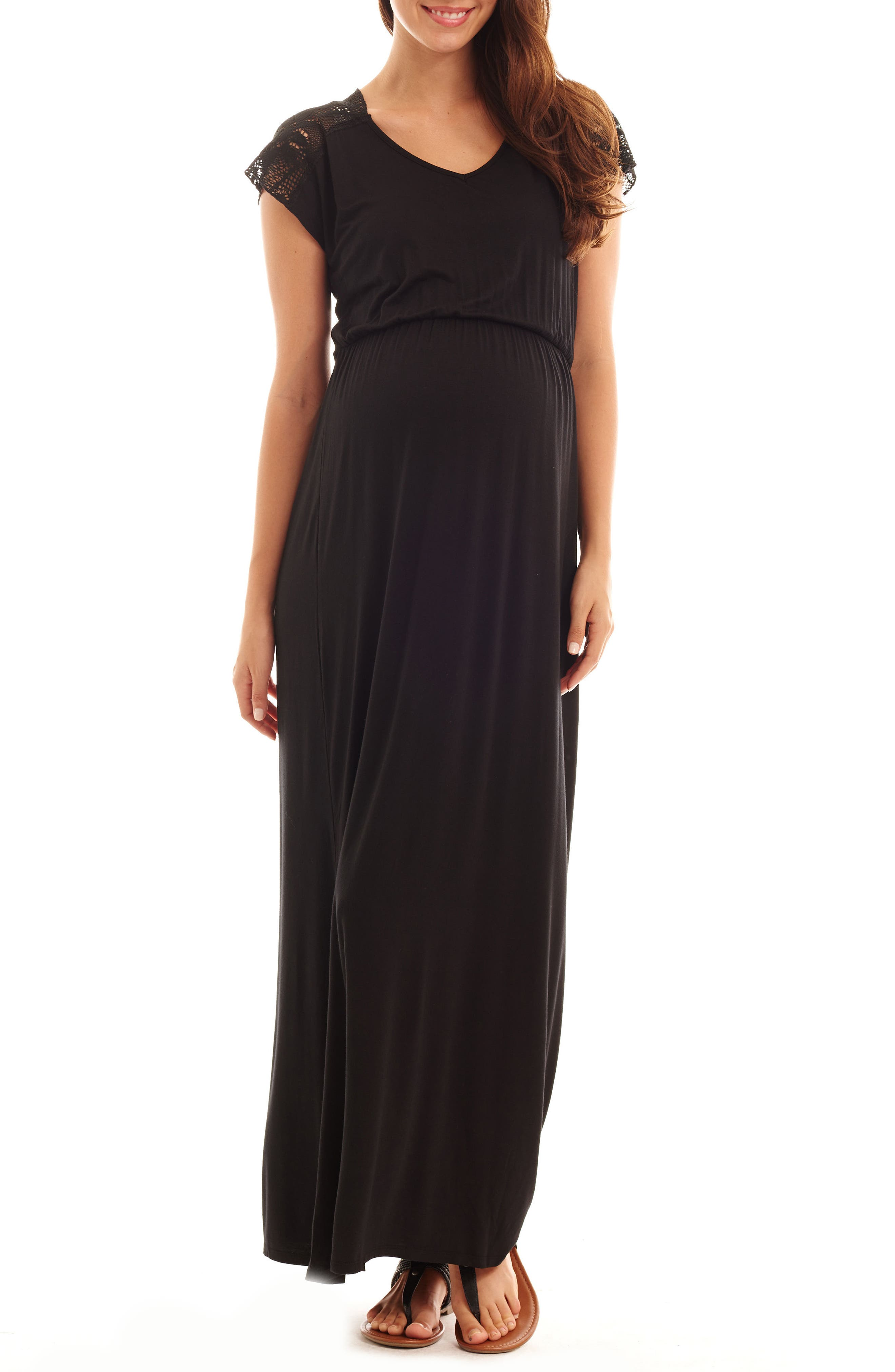 Everly Grey Margaret Maternity/nursing Maxi Dress, Black