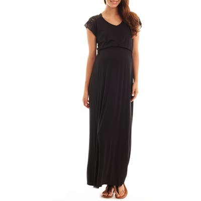Everly Grey Margaret Maternity/nursing Maxi Dress, Black