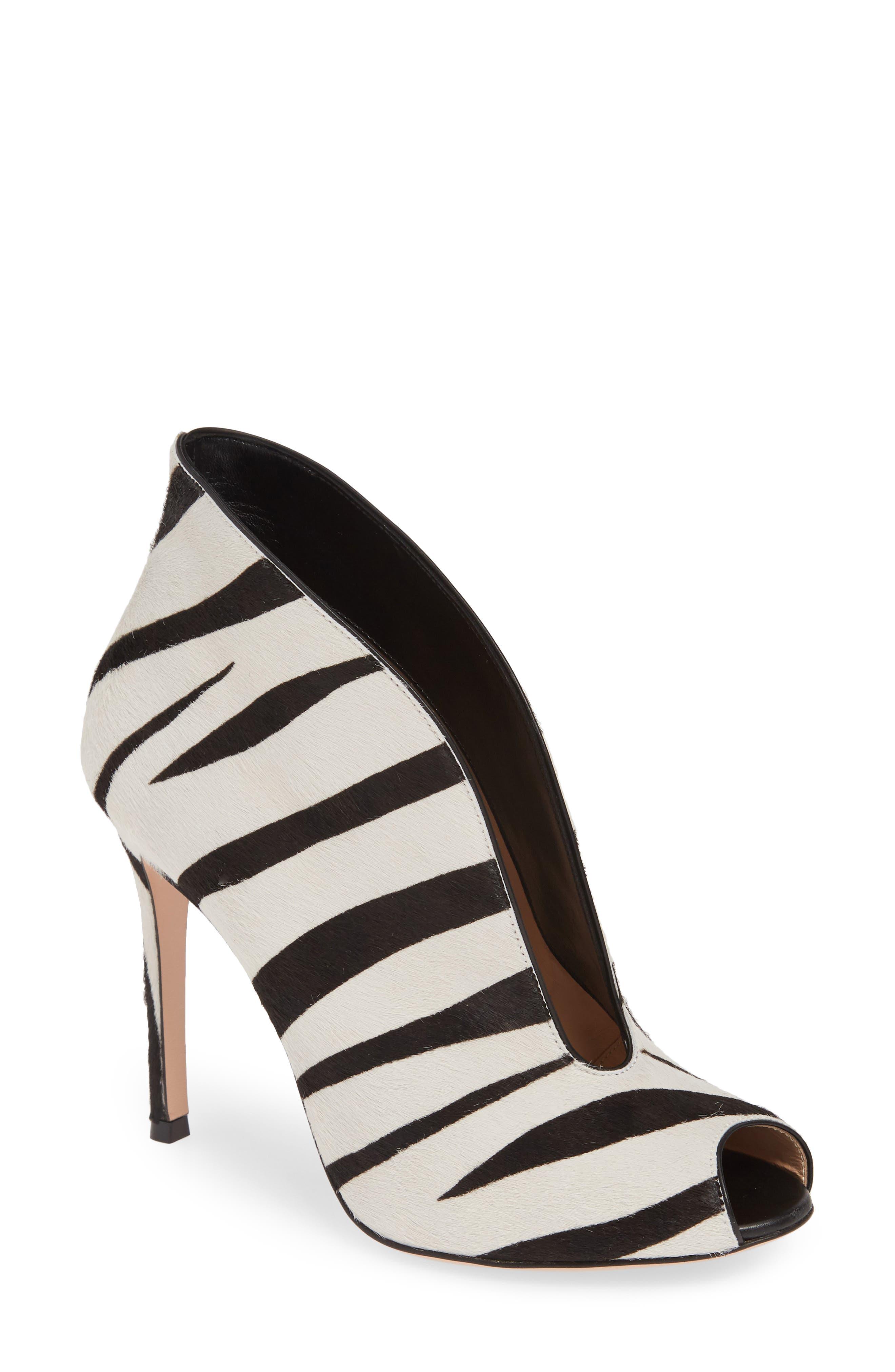 d6e568129de2 Gianvito Rossi Zebra Stripe Genuine Calf Hair Peep Toe Bootie, Black
