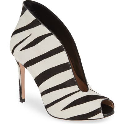 Gianvito Rossi Zebra Stripe Genuine Calf Hair Peep Toe Bootie, Black (Nordstrom Exclusive)