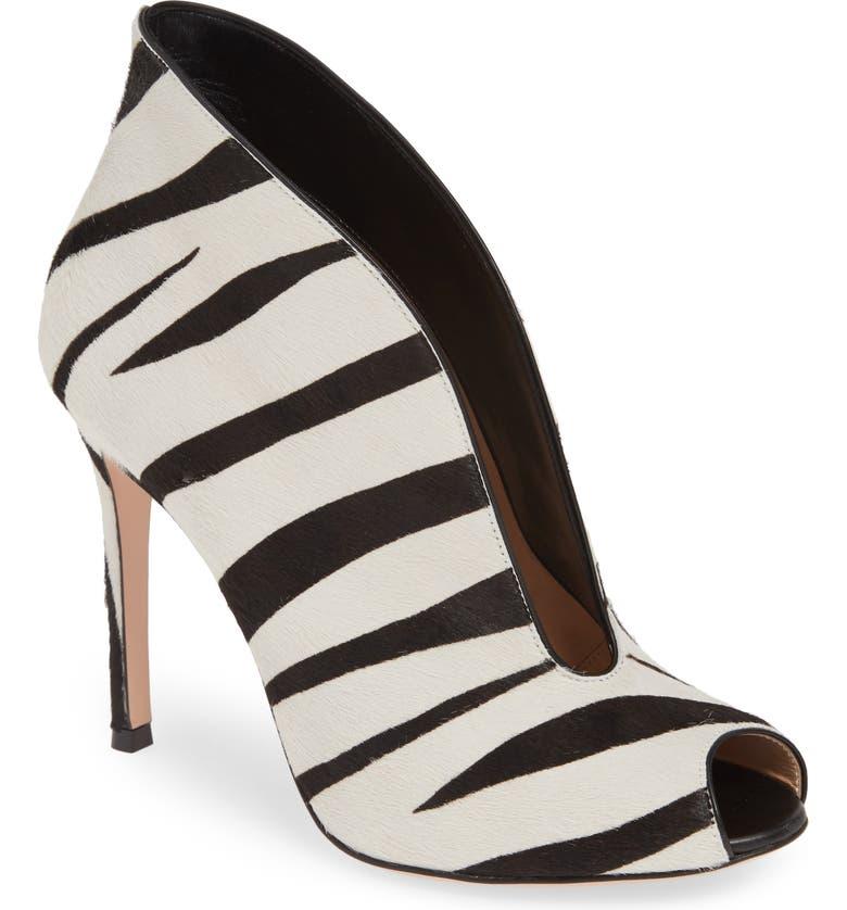GIANVITO ROSSI Zebra Stripe Genuine Calf Hair Peep Toe Bootie, Main, color, ZEBRA PRINT CALF HAIR