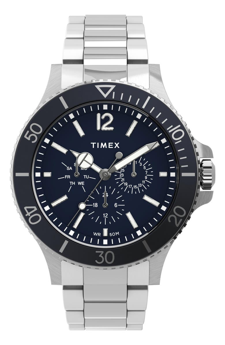 TIMEX<SUP>®</SUP> Harborside Multifunction Bracelet Watch, 42mm, Main, color, SILVER/ BLUE/ SILVER