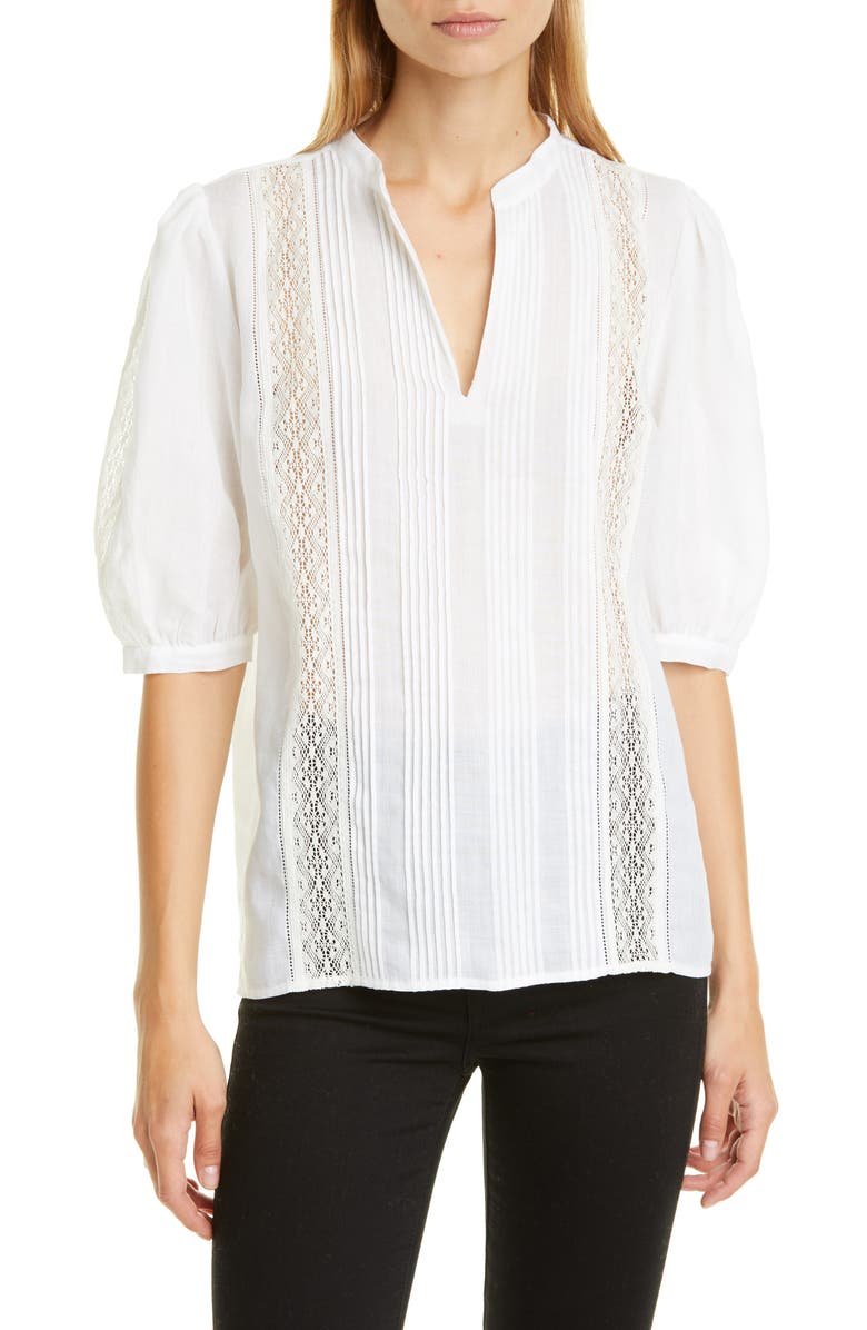 Lace Inset Cotton Blouse by Nordstrom Signature