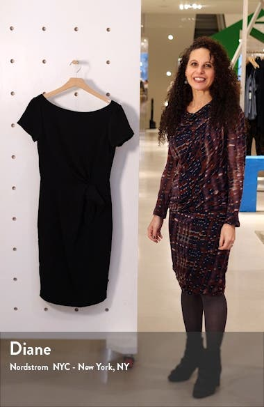 Knotted Waist Crepe Cocktail Dress, sales video thumbnail