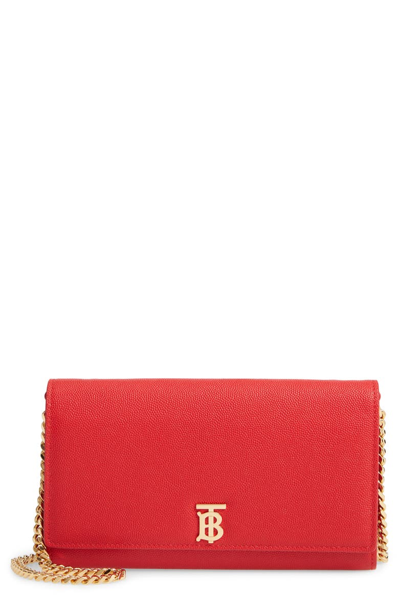 BURBERRY Hannah Leather Wallet on a Chain, Main, color, BRIGHT RED