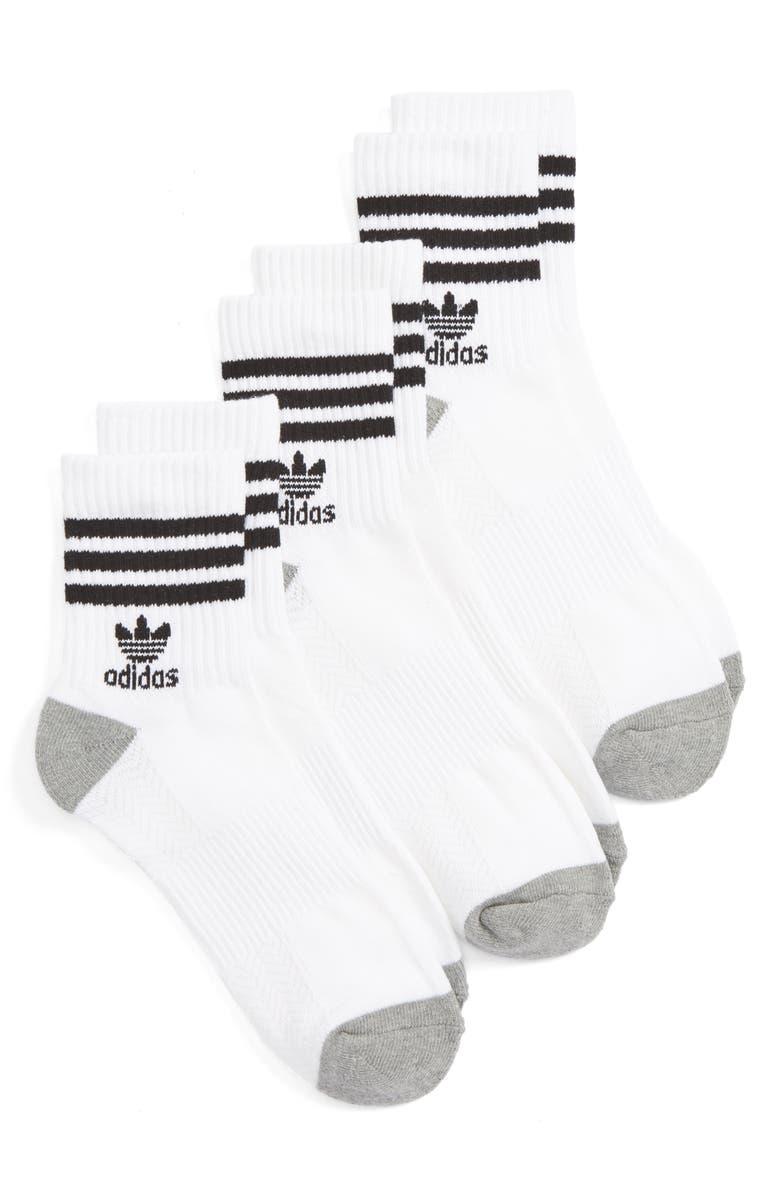 ADIDAS ORIGINALS 3-Pack Quarter Crew Socks, Main, color, WHITE