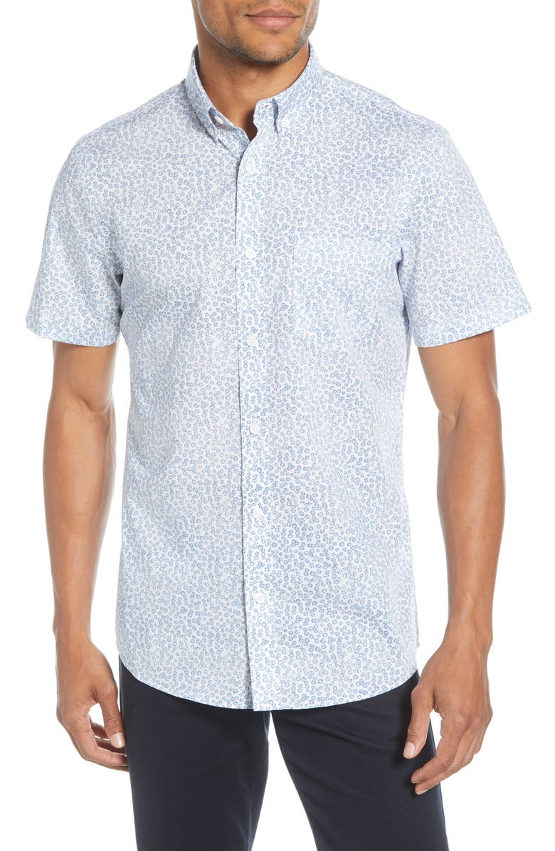 NORDSTROM MEN'S SHOP Regular Fit Non-Iron Floral Short Sleeve Button-Down Shirt, Main, color, WHITE BLUE DAISY FIELD
