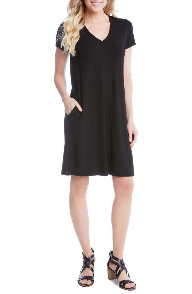 KAREN KANE Quinn Pocket Shift Dress, Main, color, BLACK