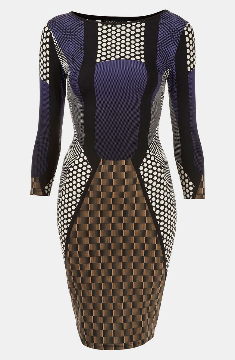 TOPSHOP 'Geo Spot' Print Body-Con Dress, Main, color, 400