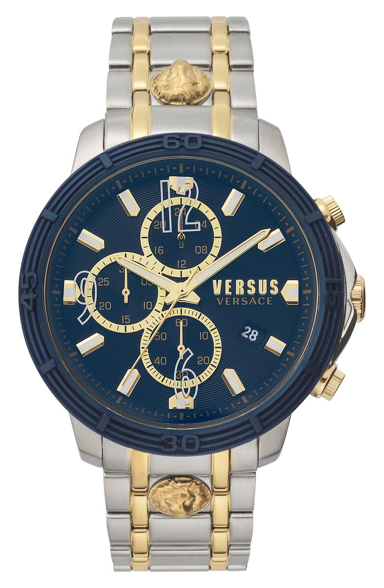VERSUS VERSACE Bicocca Bracelet Watch, 46mm, Main, color, SILVER/ GOLD/ BLUE