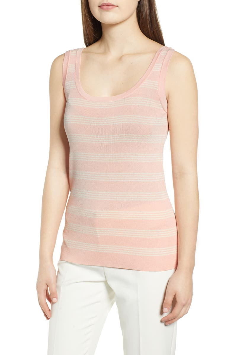 ANNE KLEIN Triple Stripe Tank, Main, color, CHERRY BLOSSOM/ ANNE WHITE