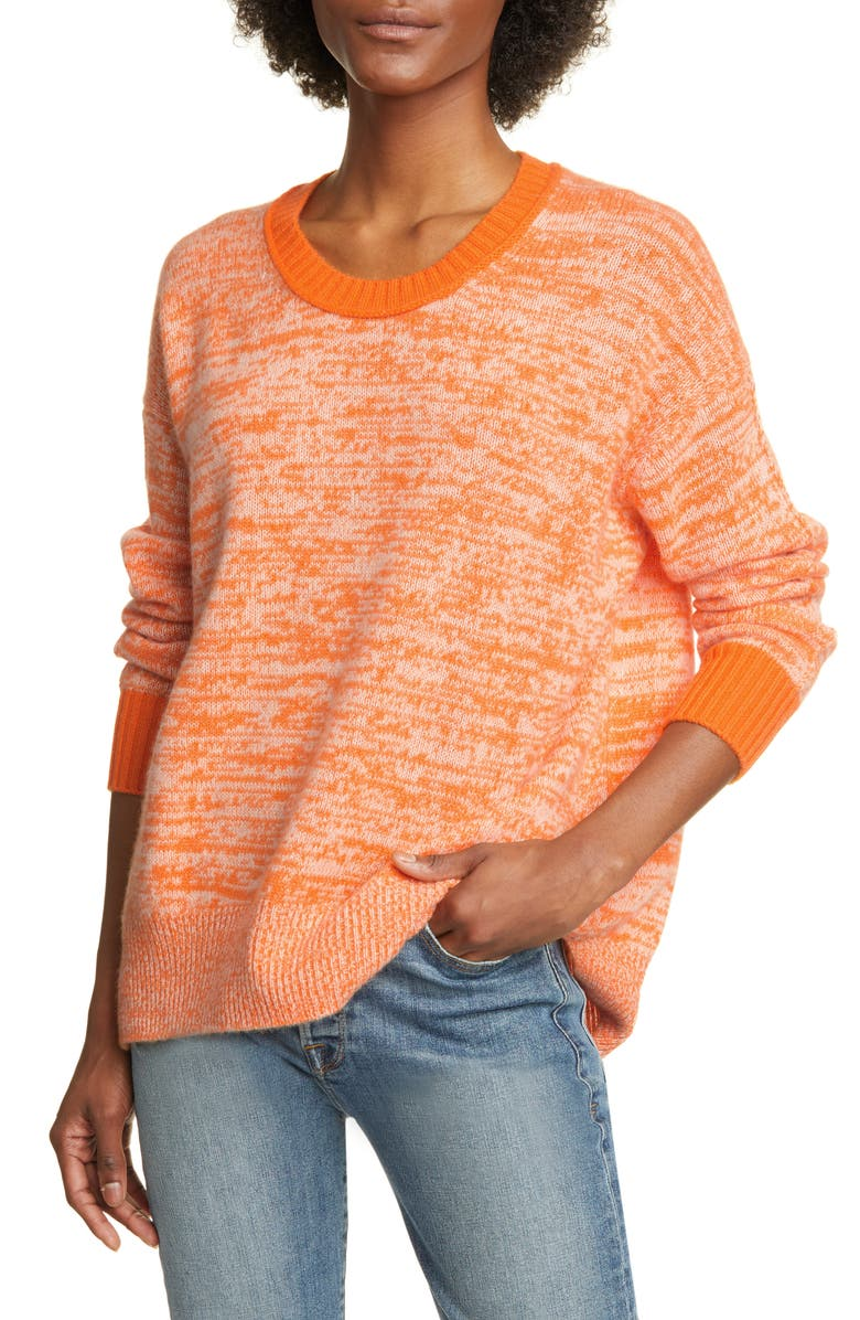 ALLUDE Speckled Cashmere Sweater, Main, color, CLEMENTINE TWEED