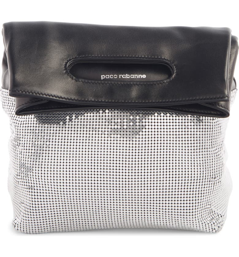 PACO RABANNE Mesh Foldover Clutch, Main, color, SILVER/ BLACK
