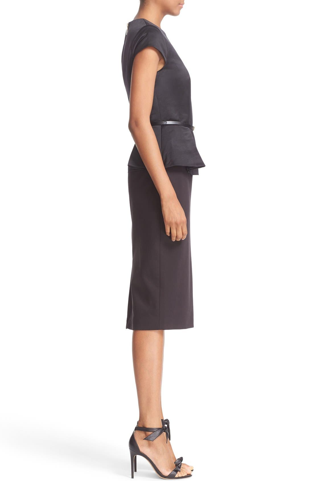 ,                             Belted Mock Two-Piece Peplum Body-Con Dress,                             Alternate thumbnail 5, color,                             001