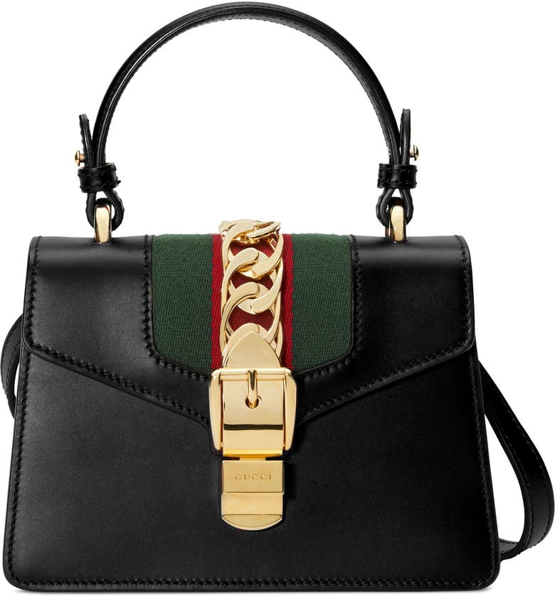 GUCCI Mini Top Handle Leather Shoulder Bag, Main, color, 8639 NERO/VRV