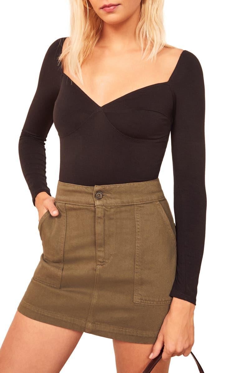 REFORMATION Heather Bodysuit, Main, color, BLACK
