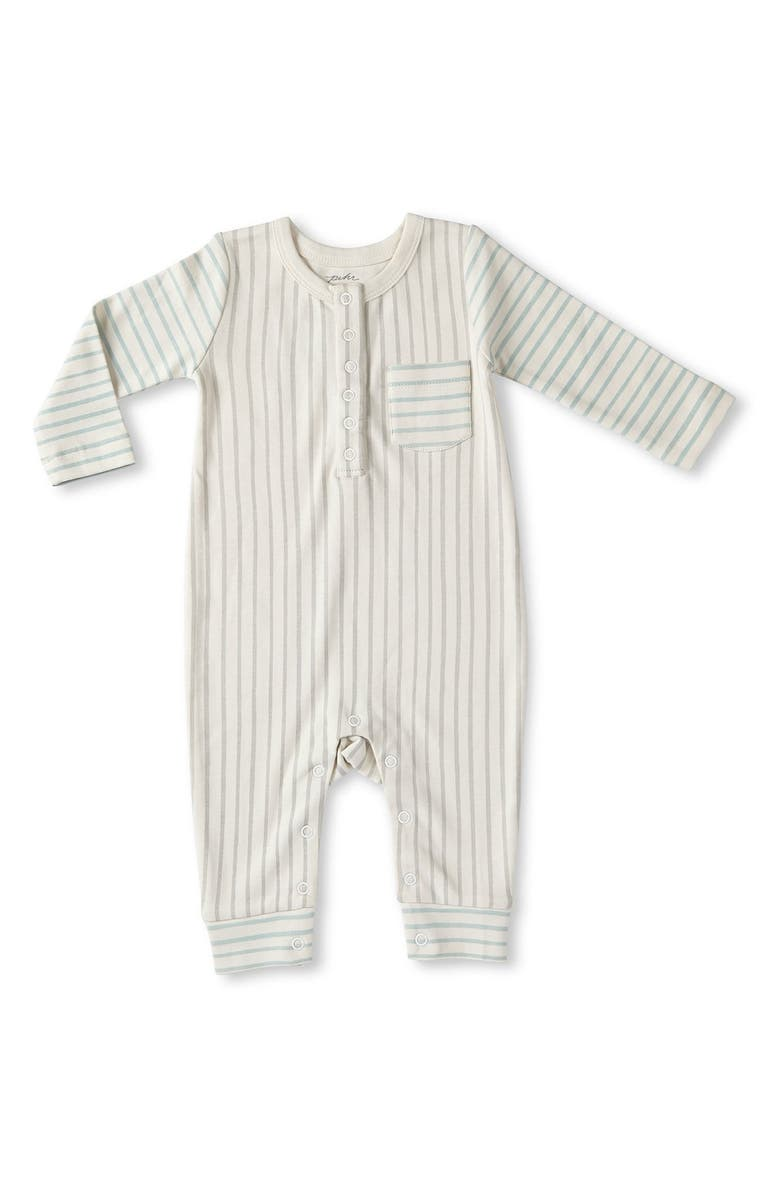 PEHR Stripes Away Romper, Main, color, PEBBLE WITH SEA