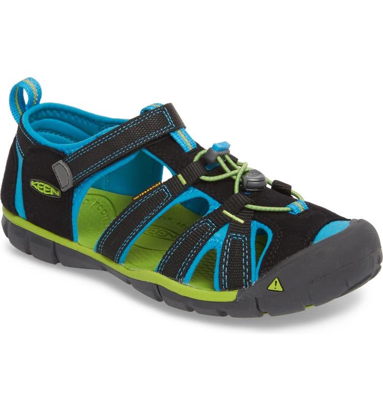 KEEN Seacamp II CNX Water Friendly Sandal, Main, color, BLACK/ BLUE DANUBE