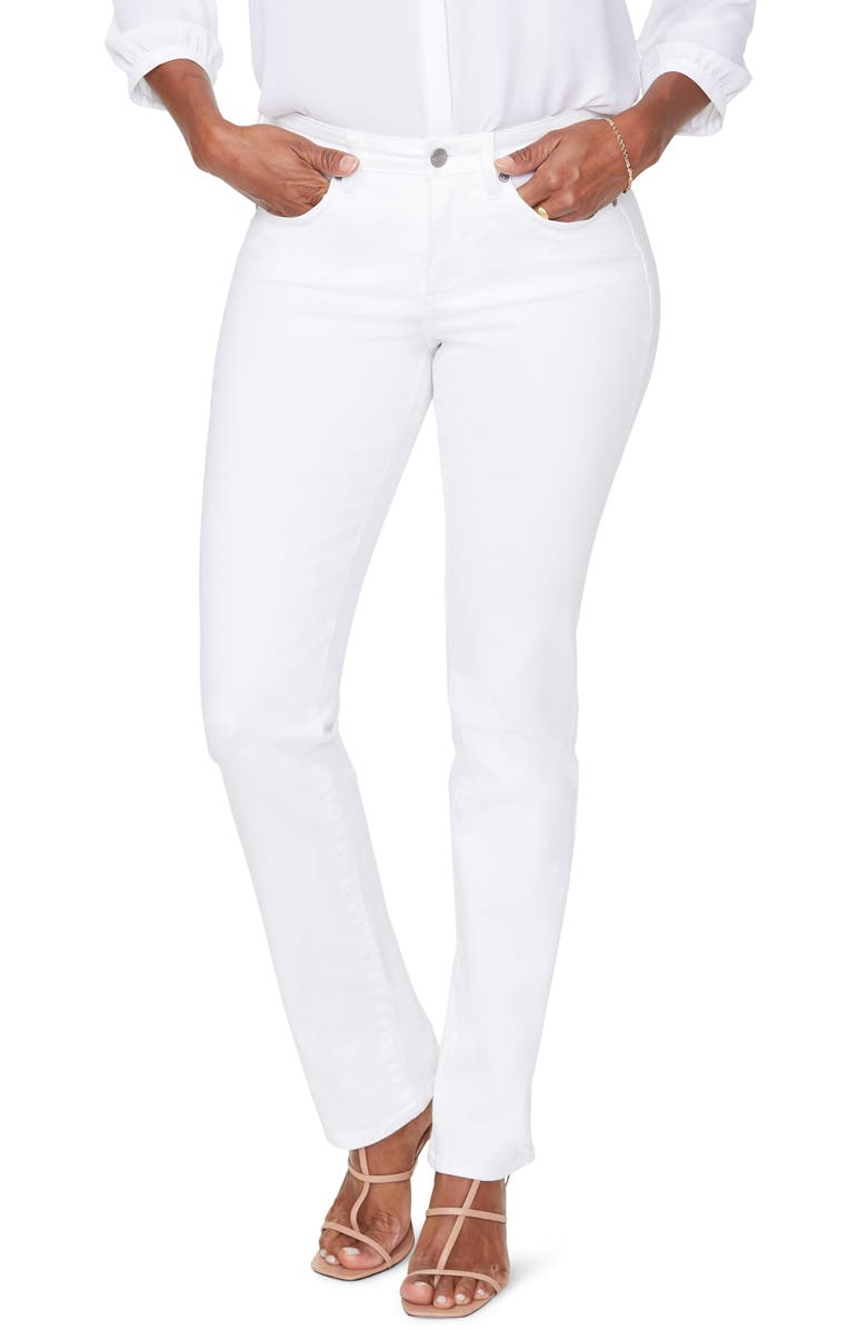 NYDJ Sheri Rhinestone Pocket Slim Stretch Jeans, Main, color, OPTIC WHITE