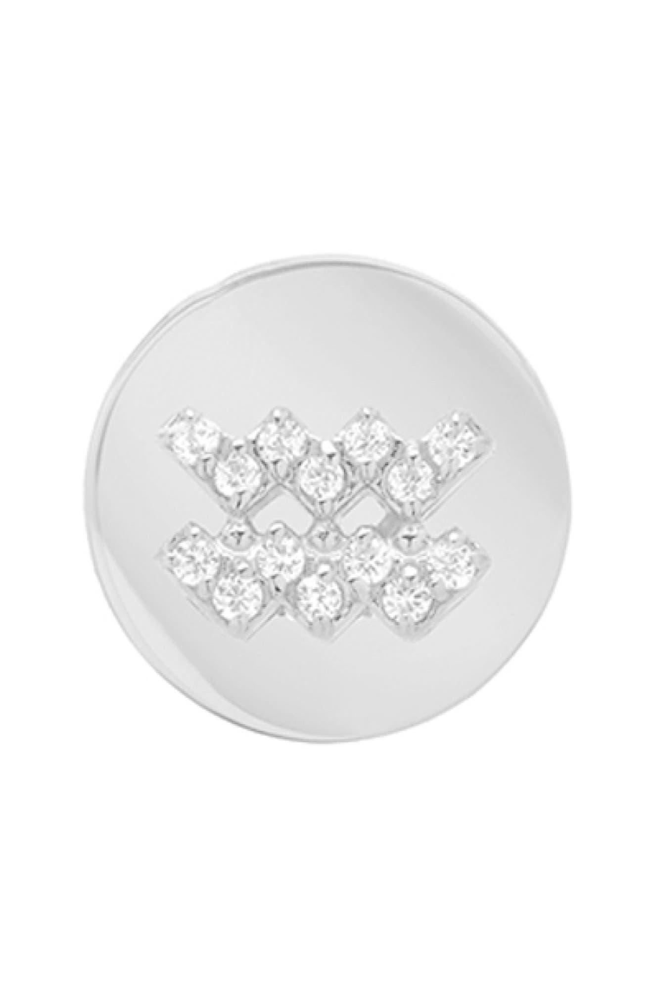 Framed Diamond Zodiac Sign Earring, Main, color, WHITE GOLD-AQUARIUS