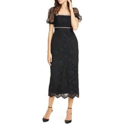 Self-Portrait Bead Trim Lace Midi Dress, Black