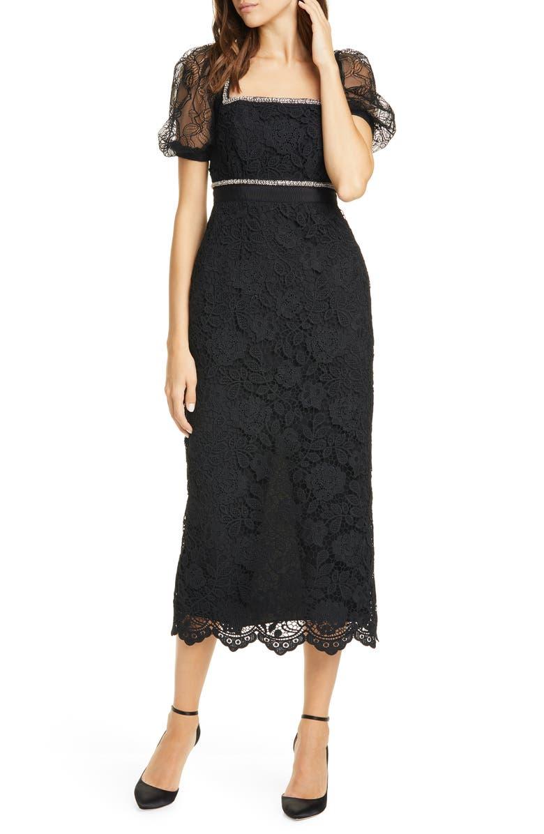 SELF-PORTRAIT Bead Trim Lace Midi Dress, Main, color, BLACK