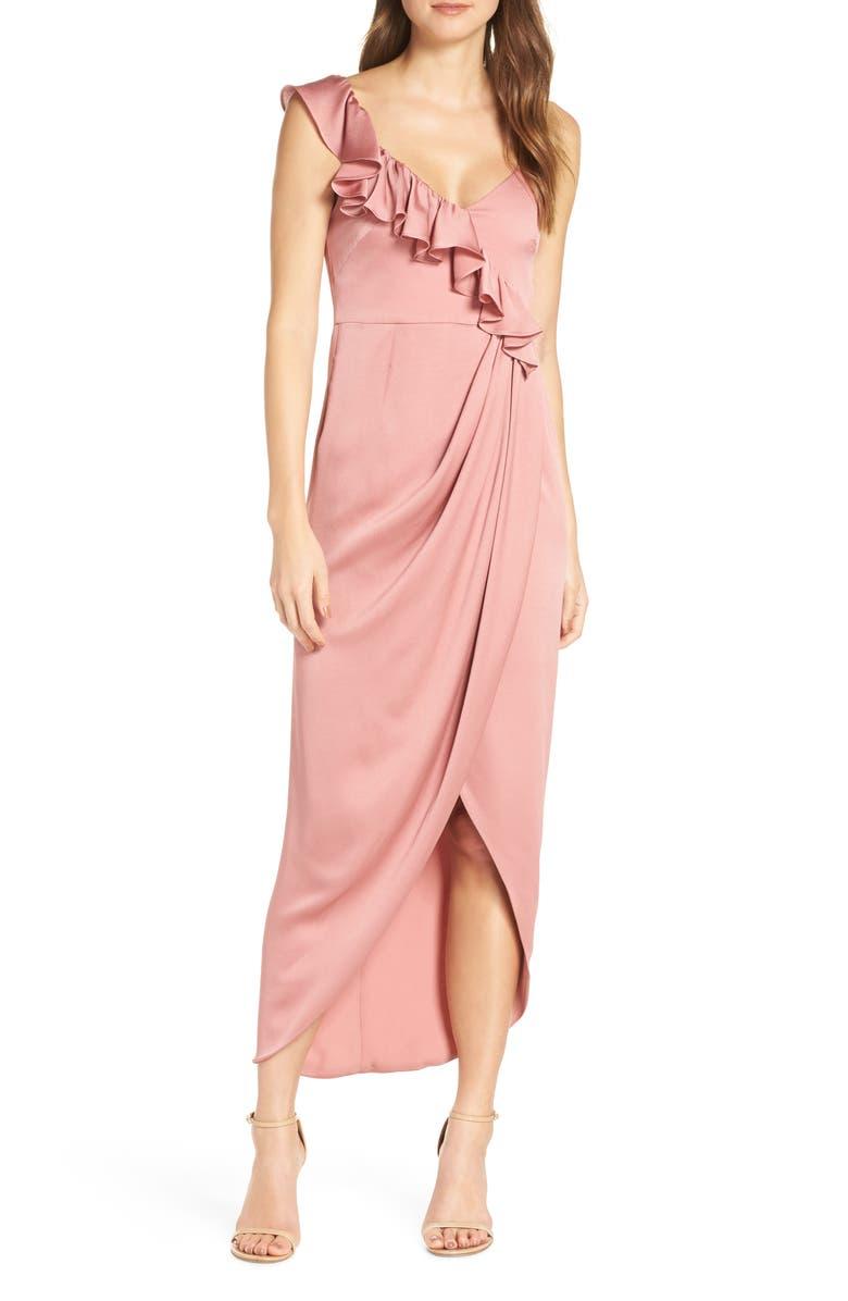 SHONA JOY Luxe Asymmetrical Frill Maxi Dress, Main, color, ROSE