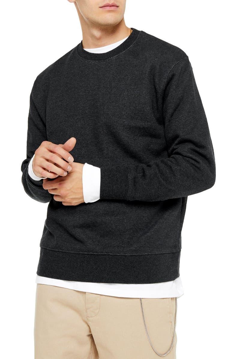 TOPMAN Crewneck Sweatshirt, Main, color, CHARCOAL