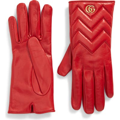 Gucci Gg Logo Cashmere Lined Quilted Leather Gloves, Red