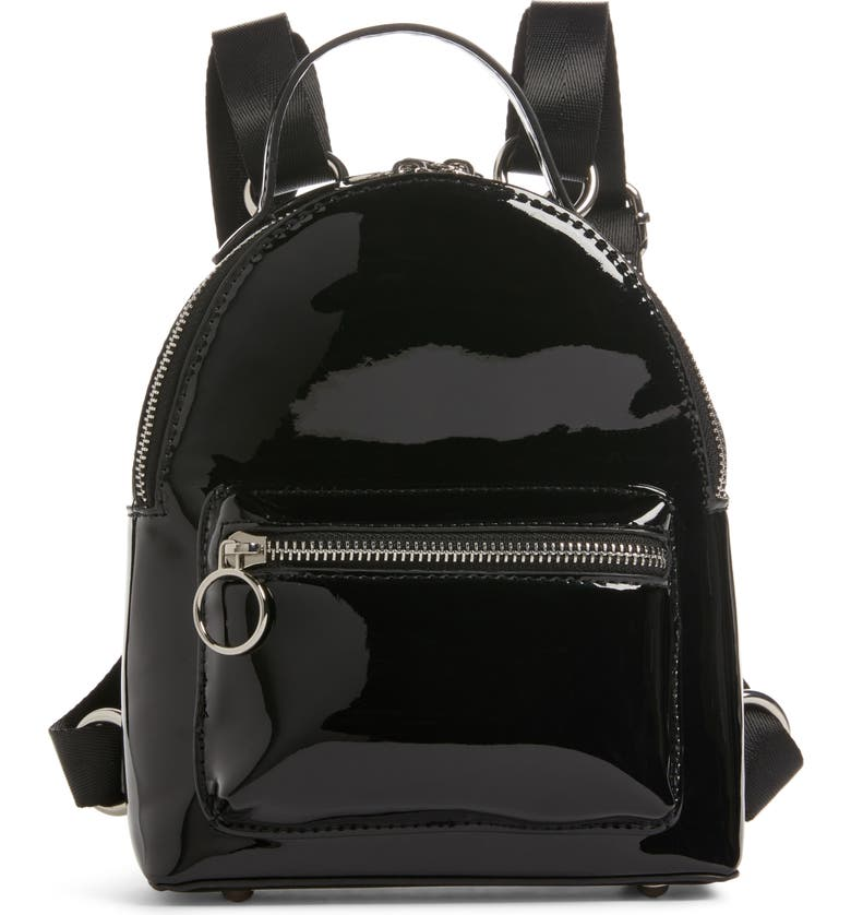 BP. x Claudia Sulewski Faux Patent Leather Mini Backpack, Main, color, BLACK