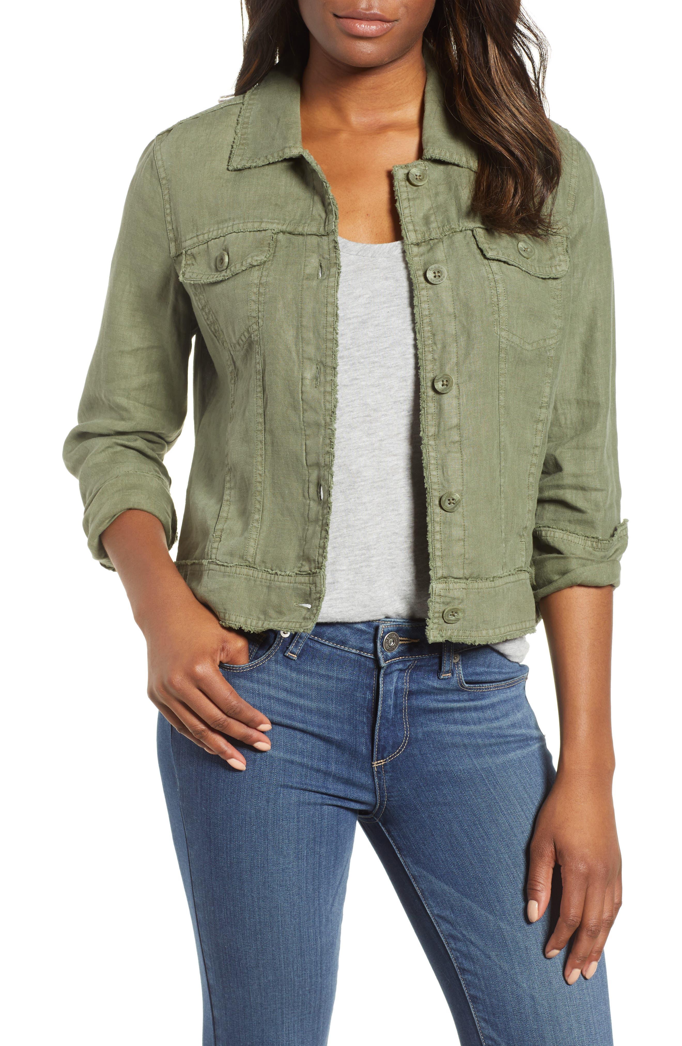 'Two Palms' Linen Raw Edge Jacket, Main, color, TEA LEAF