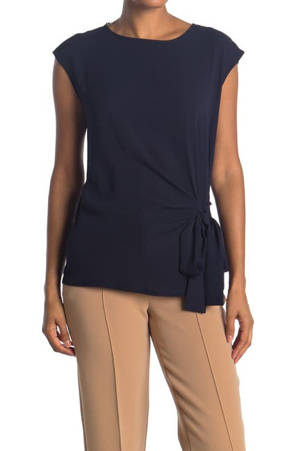 Image of Vince Camuto Short Sleeve Soft Textured Mixed Media Top