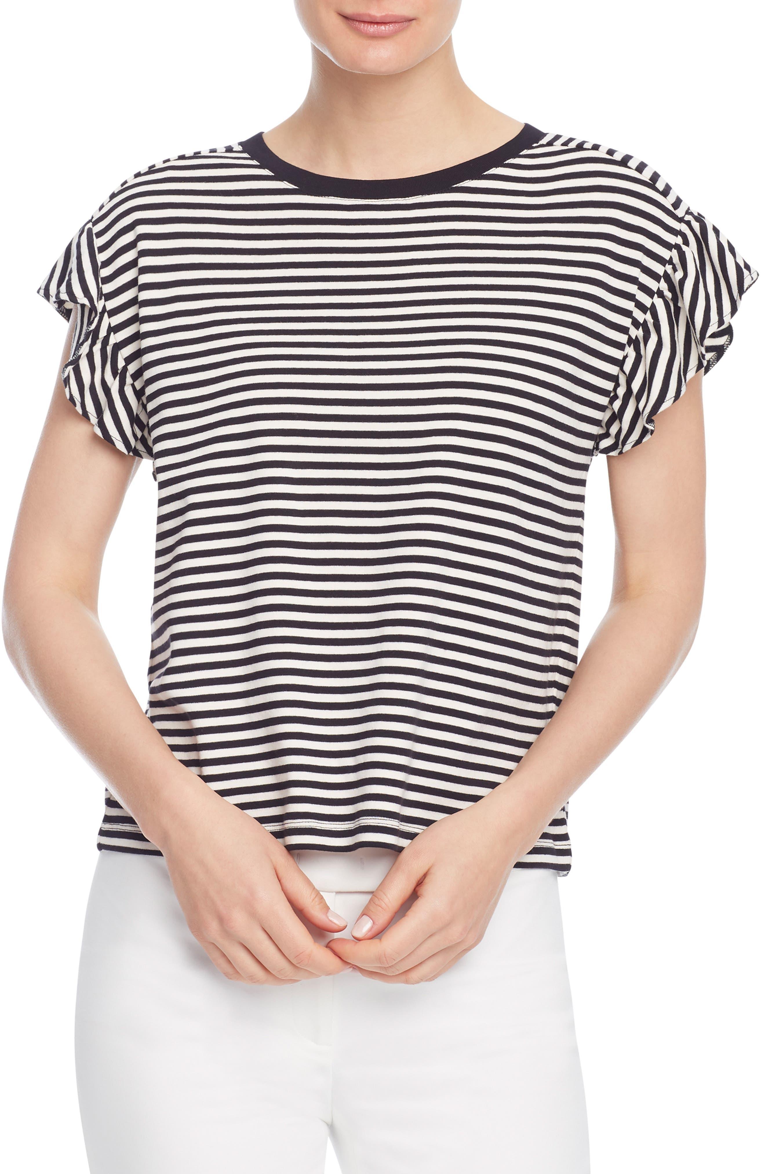Stripe Ruffle Sleeve T-Shirt