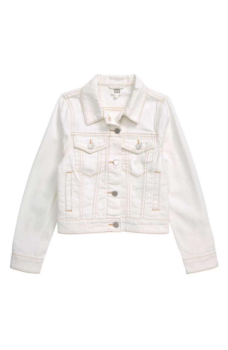 SEED HERITAGE Denim Trucker Jacket, Main, color, WHITE WASH